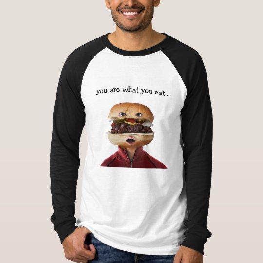 Hamburger Head Man over white T-Shirt