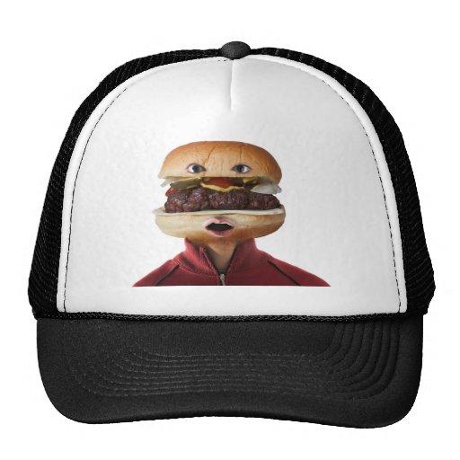 Hamburger Head Man over white Trucker Hat
