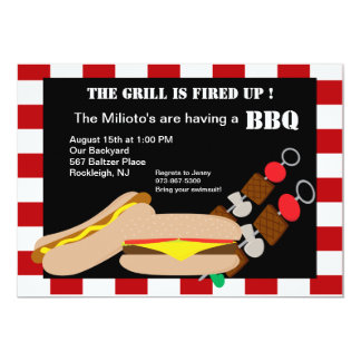 Hamburger & Hotdog with Kabobs Barbecue Invitation