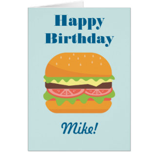 Hamburger Illustration Happy Birthday Card