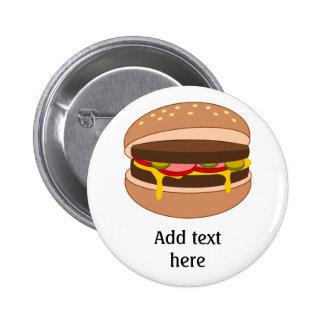 Hamburger in Bun Image - Add Your Text Pinback Button