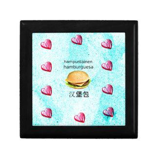 Hamburger In Finnish, Spanish, And Chinese Keepsake Box