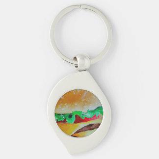 Hamburger keychain. Silver coloured metal,pop art Keychain