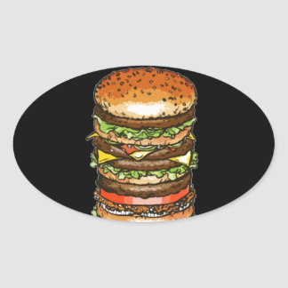 hamburger life and joy oval sticker