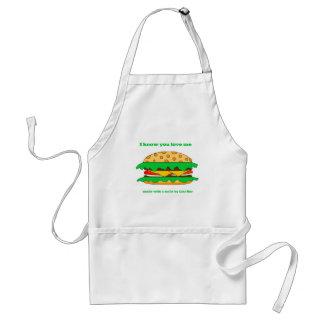 hamburger love apron