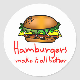 Hamburger Lover Classic Round Sticker