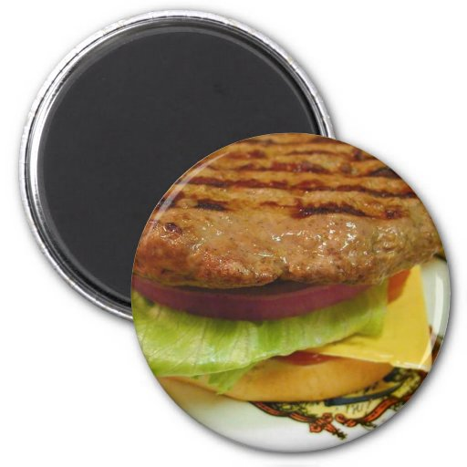 Hamburger Meat Patty Patties Lettuce Tomatoes Buns Refrigerator Magnet