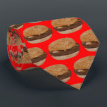 """Hamburger on Red Tie<br><div class=""""desc"""">Hamburger on Red Tie. To change the background color click Customize It!</div>"""