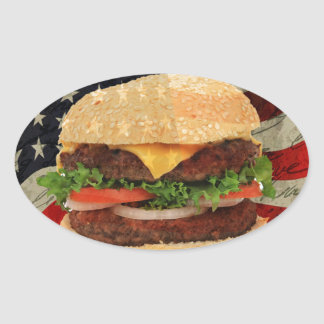 Hamburger Oval Sticker