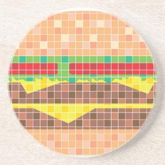 Hamburger Pixels Vector Art Coaster