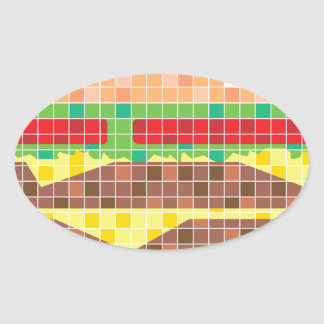 Hamburger Pixels Vector Art Oval Sticker