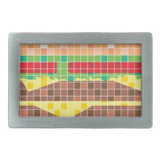 Hamburger Pixels Vector Art Rectangular Belt Buckle
