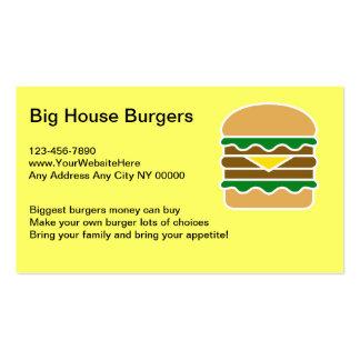 Hamburger Restaurant Business Cards