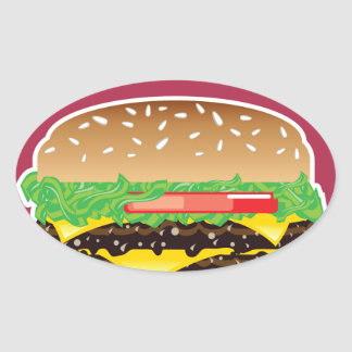 Hamburger Vector Art Oval Sticker