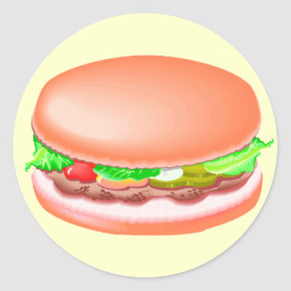 Hamburger with all the fixin's classic round sticker