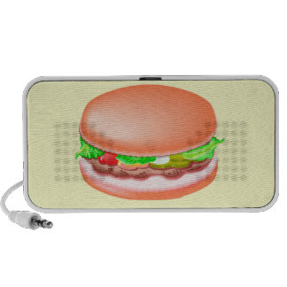 Hamburger with all the fixin's travelling speakers