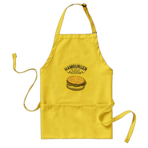 hamburger with logo simple colors fast food exc adult apron