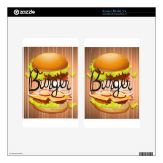 Hamburger with meat and vegetables kindle fire decals
