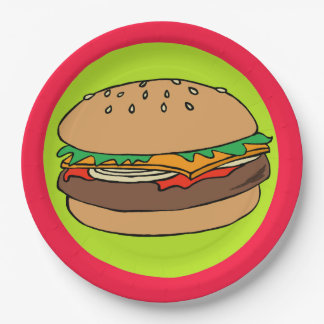 Hamburger with red border paper plate