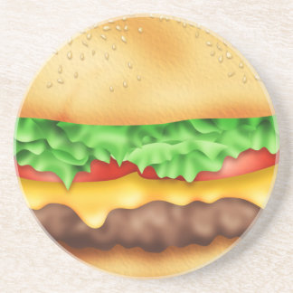 Hamburger with the lot! drink coasters