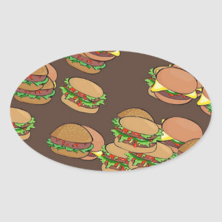 Hamburgers And Cheeseburgers Oval Sticker