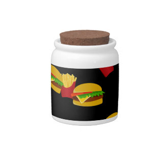 Hamburgers and french fries pattern candy dishes