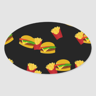 Hamburgers and french fries pattern oval sticker