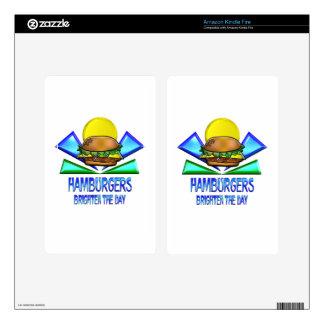 Hamburgers Brighten the Day Decals For Kindle Fire
