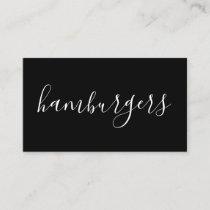 hamburgers handwritten business card