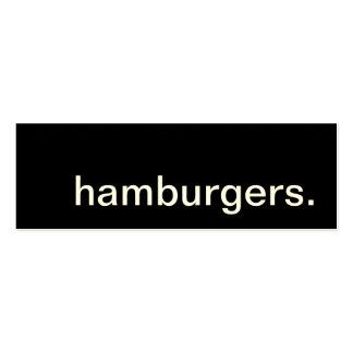 hamburgers. loyalty punch card
