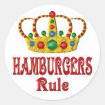 HAMBURGERS RULE CLASSIC ROUND STICKER