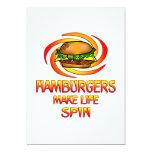 "Hamburgers Spin 5"" X 7"" Invitation Card"