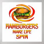 Hamburgers Spin Print