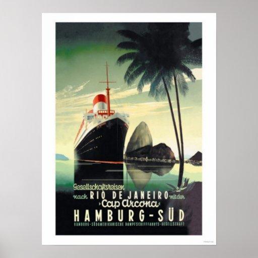 Hamburgo a Río de Janeiro en el casquillo Arcona Póster