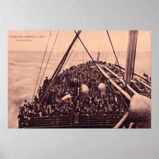 Hamburgo Amerika Linie, emigrantes 1910 de Auswand Póster