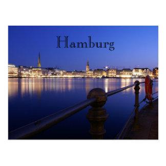 Hamburgo Binnenalster hora azul tarjeta postal