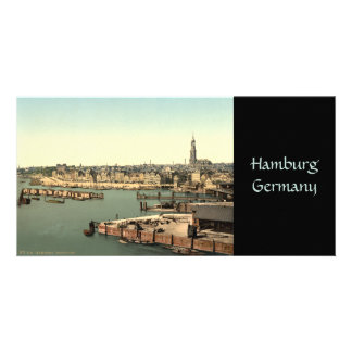 Hamburgo de la torre del reloj, Alemania Tarjeta Fotografica Personalizada