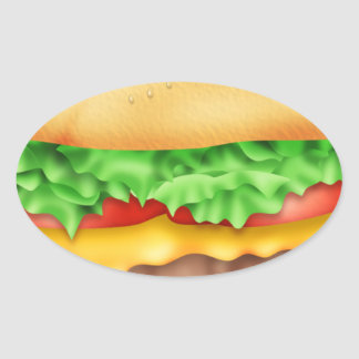 ¡Hamburguesa con la porción! Pegatina Ovalada