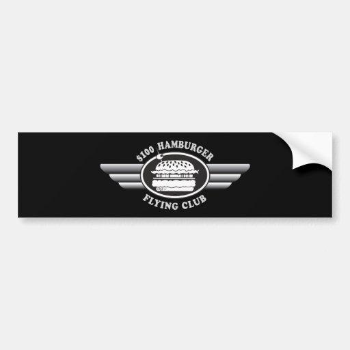 Hamburguesa de 100 dólares - club del vuelo pegatina de parachoque