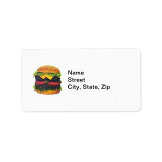 Hamburguesa de lujo doble con queso etiqueta de dirección