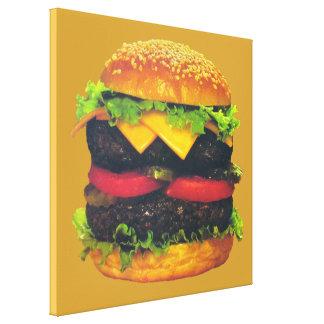 Hamburguesa de lujo doble con queso impresión en lienzo