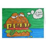 Hamburguesa del dibujo animado tarjetas