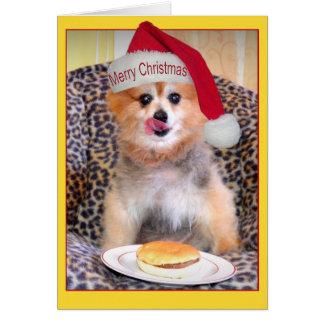 Hamburguesa del navidad de Pomeranian Tarjeta De Felicitación