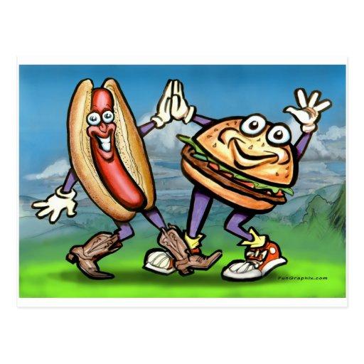 Hamburguesa del perrito caliente n tarjeta postal