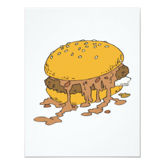 hamburguesa descuidada del chile invitación 10,8 x 13,9 cm