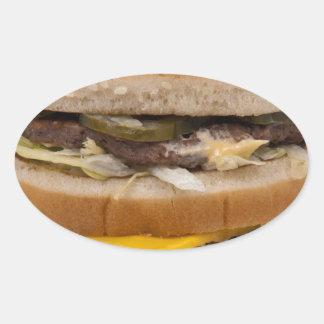 Hamburguesa doble Delite del queso Pegatina Ovalada