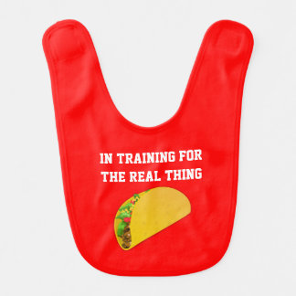 Hamburguesa en babero del bebé del entrenamiento