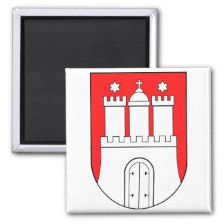 Hamburguesa escudo de armas imán cuadrado