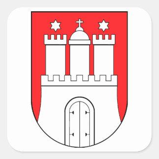 Hamburguesa escudo de armas pegatina cuadrada