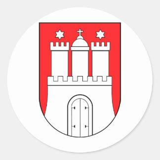 Hamburguesa escudo de armas pegatina redonda